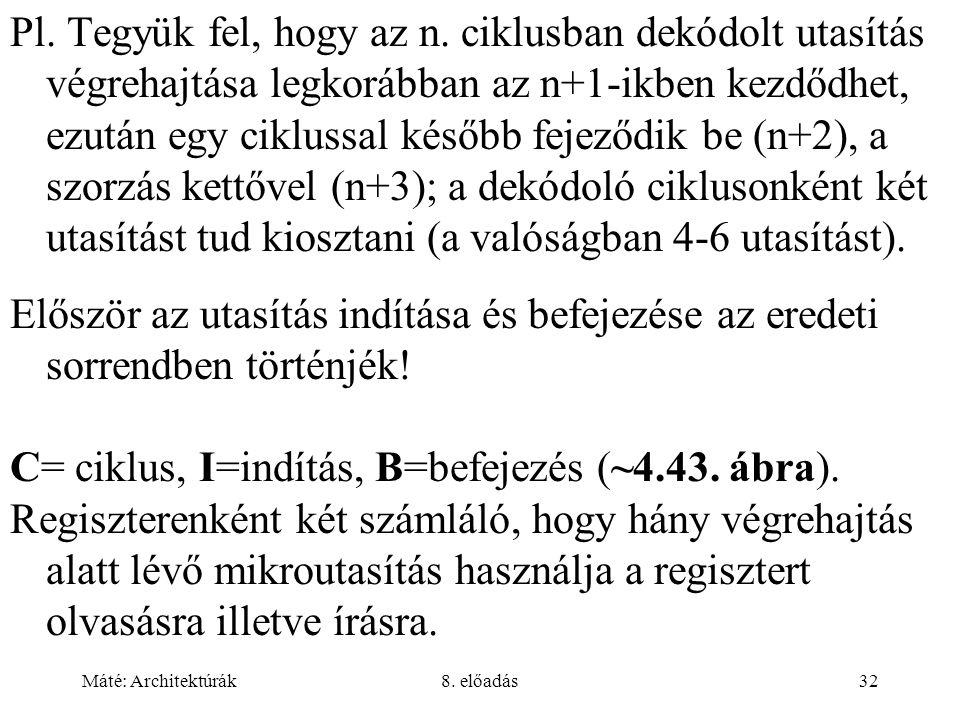 C= ciklus, I=indítás, B=befejezés (~4.43. ábra).