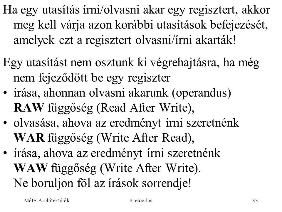Ha egy utasítás írni/olvasni akar egy regisztert, akkor meg kell várja azon korábbi utasítások befejezését, amelyek ezt a regisztert olvasni/írni akarták!