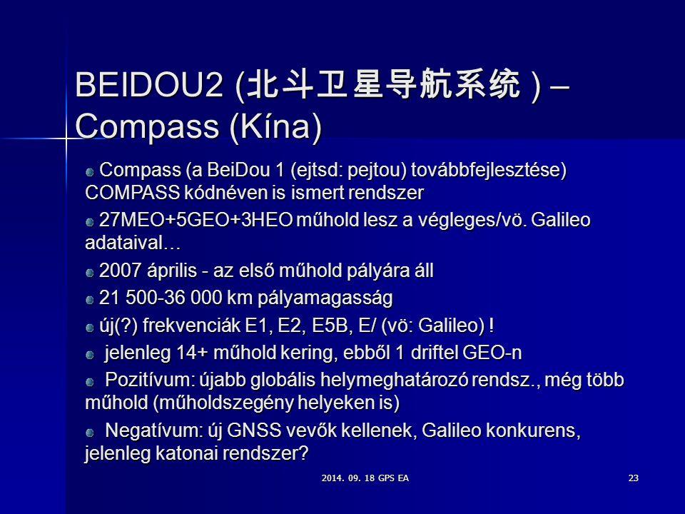 BEIDOU2 (北斗卫星导航系统 ) – Compass (Kína)