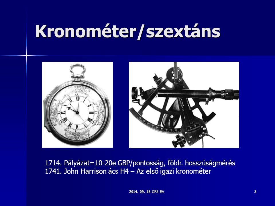 Kronométer/szextáns 1714. Pályázat=10-20e GBP/pontosság, földr. hosszúságmérés. 1741. John Harrison ács H4 – Az első igazi kronométer.