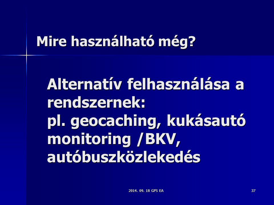 Mire használható még Alternatív felhasználása a rendszernek: pl. geocaching, kukásautó monitoring /BKV, autóbuszközlekedés.