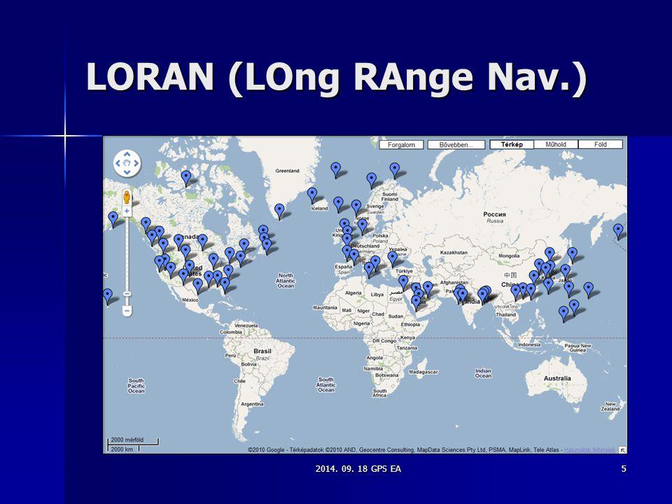 LORAN (LOng RAnge Nav.) 2014. 09. 18 GPS EA