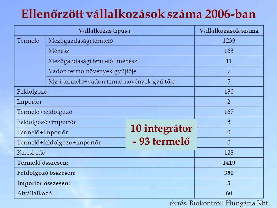 Ellenőrzött vállalkozások száma 2006-ban