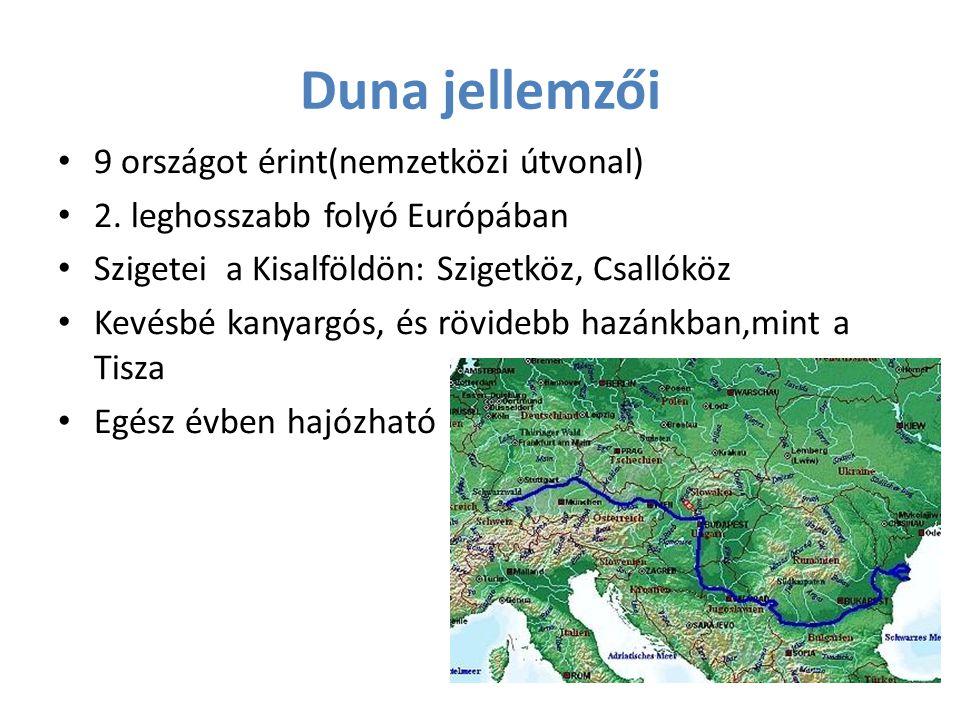 Duna jellemzői 9 országot érint(nemzetközi útvonal)