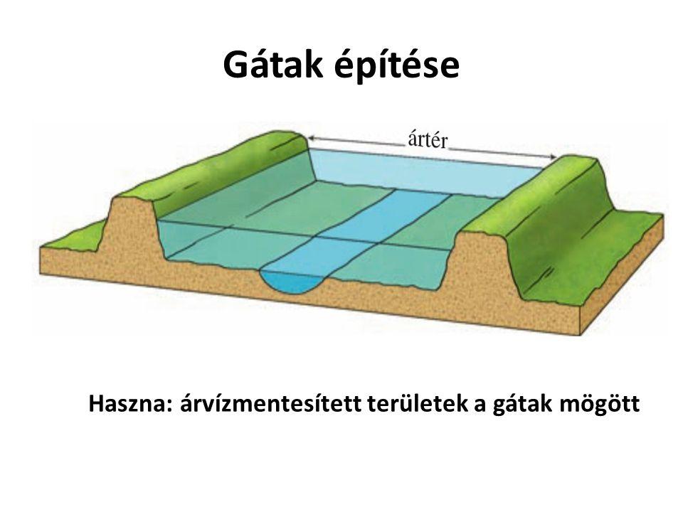 Gátak építése Haszna: árvízmentesített területek a gátak mögött