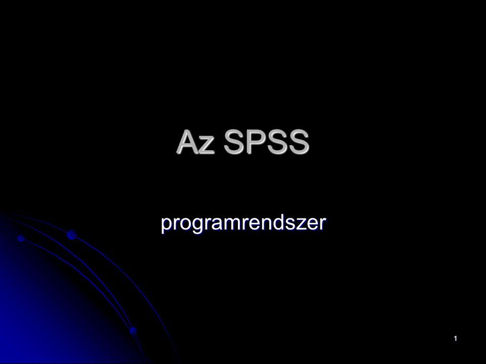 Az SPSS programrendszer
