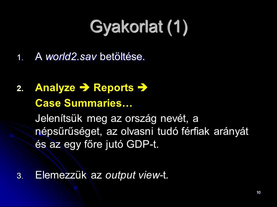 Gyakorlat (1) A world2.sav betöltése. Analyze  Reports 