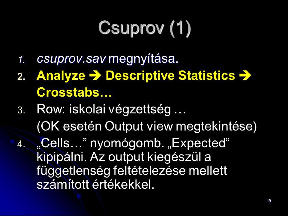 Csuprov (1) csuprov.sav megnyítása. Analyze  Descriptive Statistics 