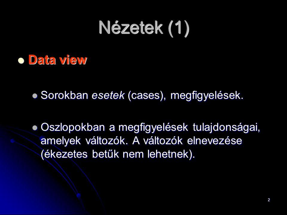 Nézetek (1) Data view Sorokban esetek (cases), megfigyelések.