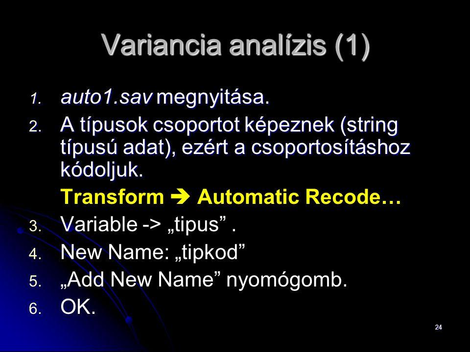 Variancia analízis (1) auto1.sav megnyitása.