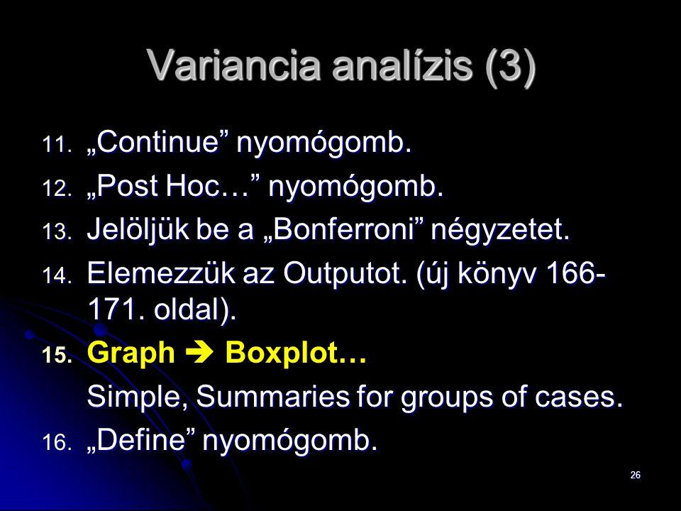 "Variancia analízis (3) ""Continue nyomógomb. ""Post Hoc… nyomógomb."