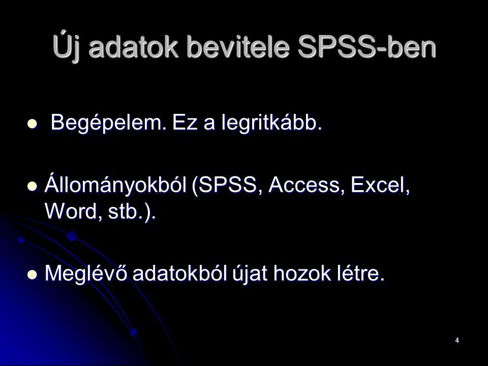 Új adatok bevitele SPSS-ben