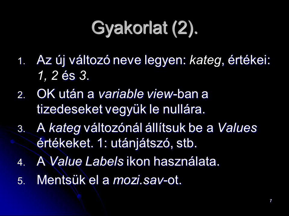 Gyakorlat (2). Az új változó neve legyen: kateg, értékei: 1, 2 és 3.