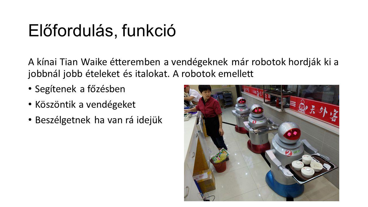 Előfordulás, funkció A kínai Tian Waike étteremben a vendégeknek már robotok hordják ki a jobbnál jobb ételeket és italokat. A robotok emellett.