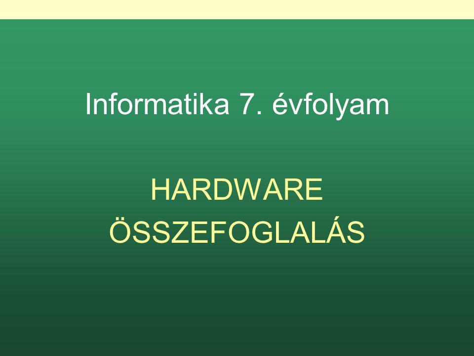Informatika 7. évfolyam HARDWARE ÖSSZEFOGLALÁS