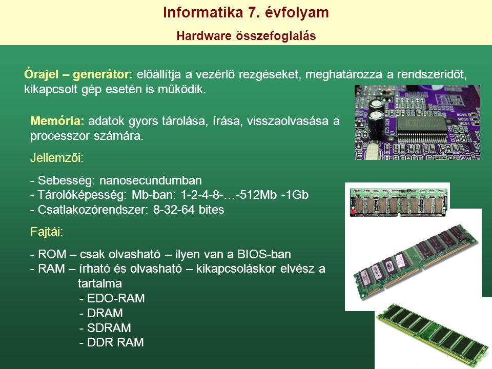 Hardware összefoglalás
