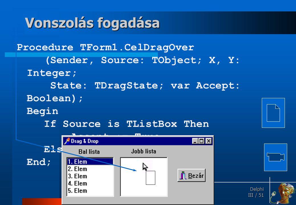 Dobás Ha egy objektum fogadja, egérgomb felengedésekor OnDragDrop üzenetet kap. OnDragDrop(Sender, Source: TObject; X, Y: Integer)