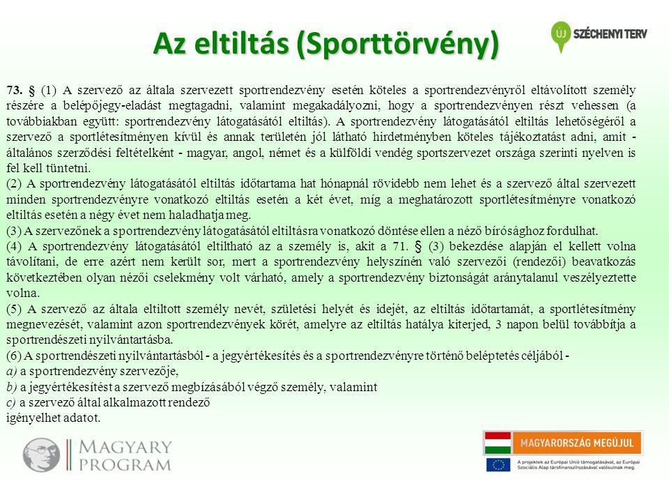 Az eltiltás (Sporttörvény)