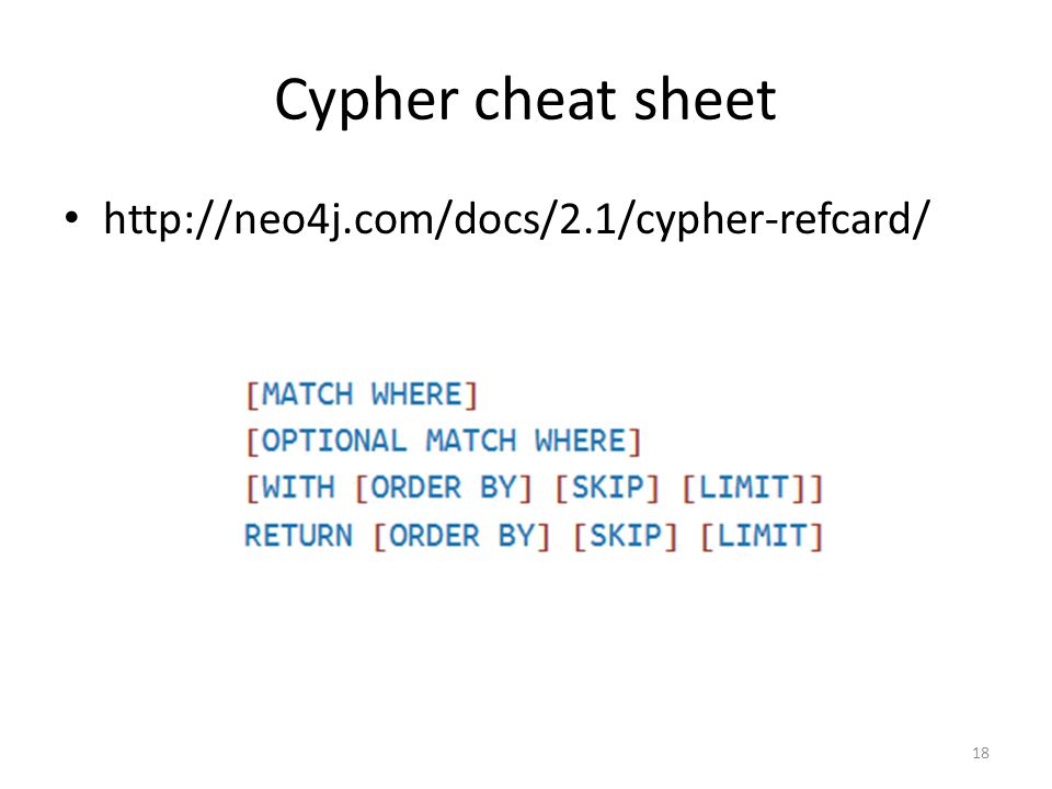 Cypher cheat sheet http://neo4j.com/docs/2.1/cypher-refcard/