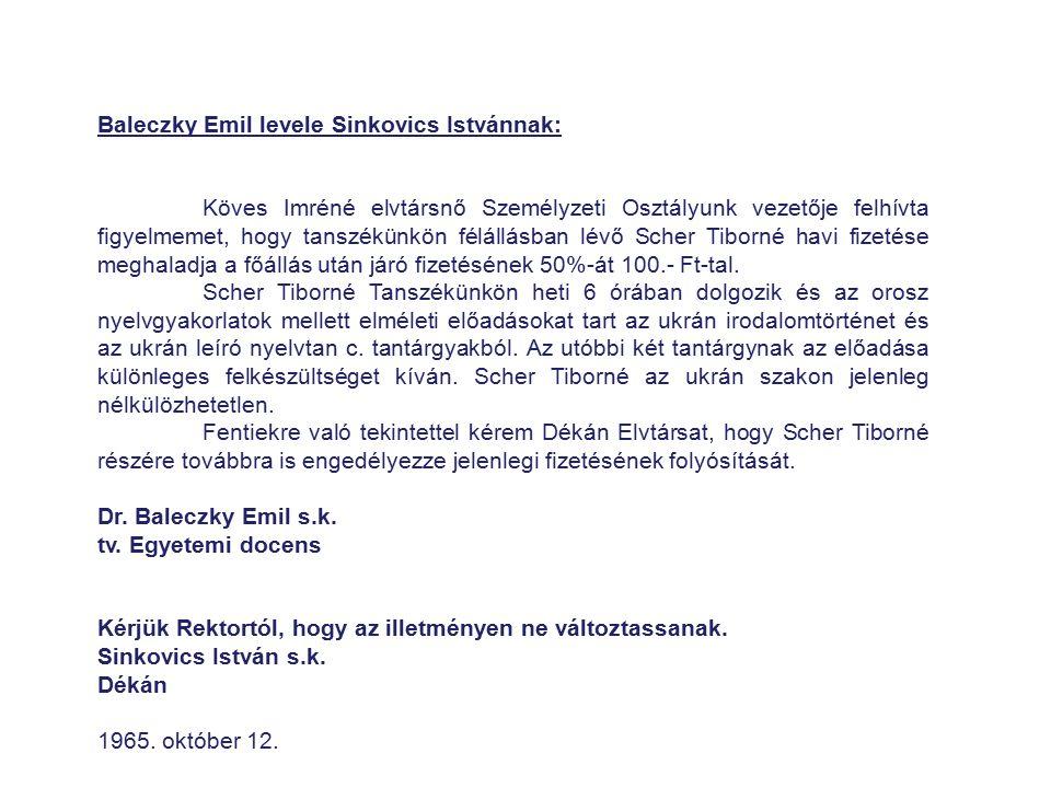 Baleczky Emil levele Sinkovics Istvánnak: