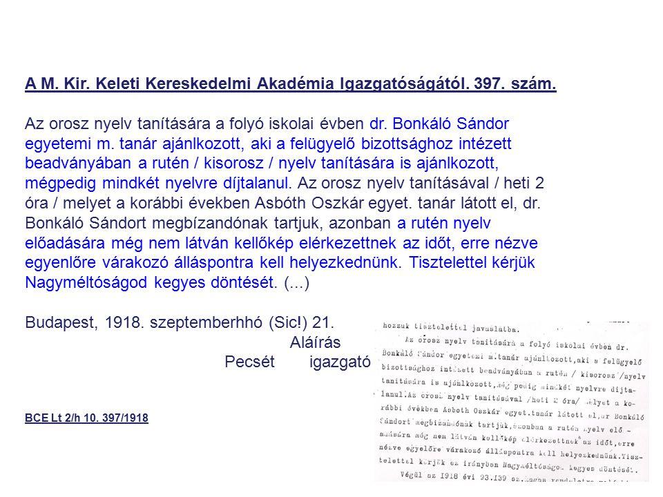 A M. Kir. Keleti Kereskedelmi Akadémia Igazgatóságától. 397. szám.