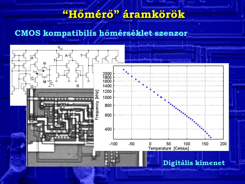 Hőmérő áramkörök CMOS kompatibilis hőmérséklet szenzor