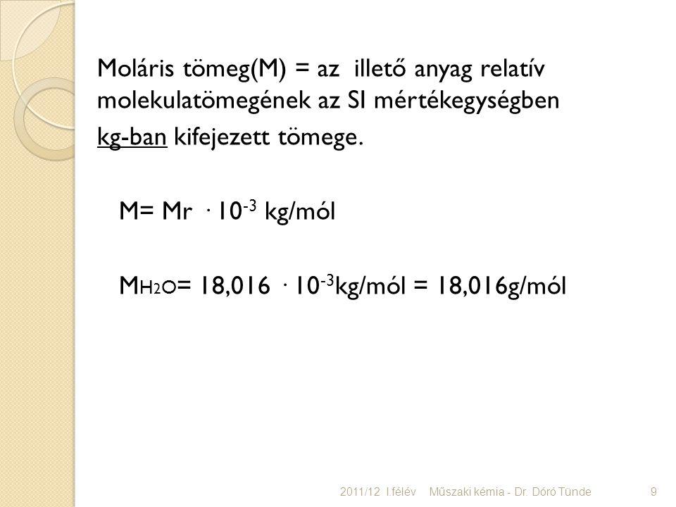 kg-ban kifejezett tömege. M= Mr · 10-3 kg/mól