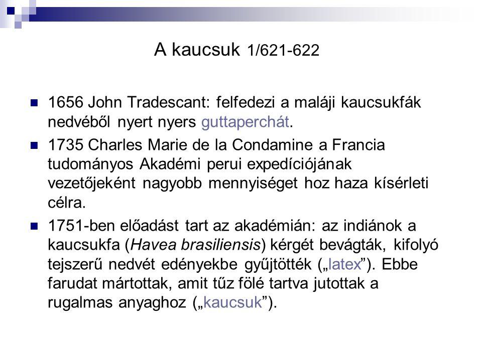 A kaucsuk 1/621-622 1656 John Tradescant: felfedezi a maláji kaucsukfák nedvéből nyert nyers guttaperchát.