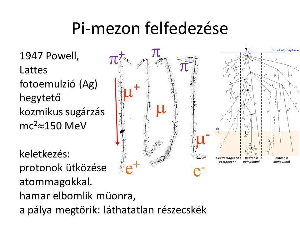 Pi-mezon felfedezése  + - +  - e+ e- 1947 Powell, Lattes