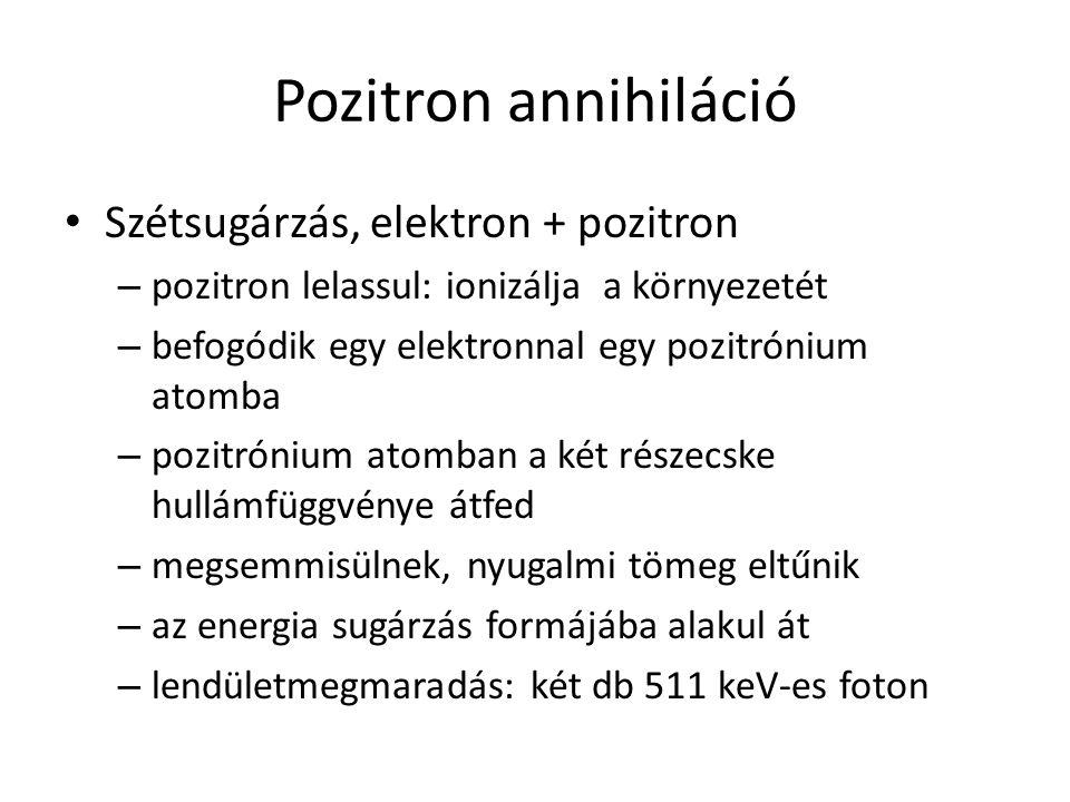 Pozitron annihiláció Szétsugárzás, elektron + pozitron
