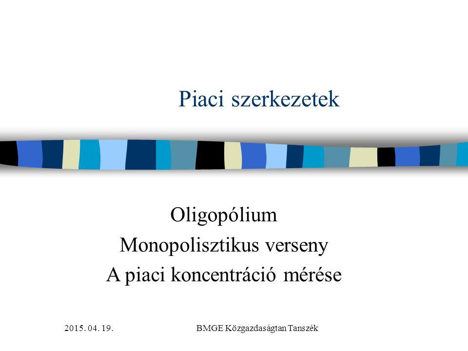 Oligopólium Monopolisztikus verseny A piaci koncentráció mérése