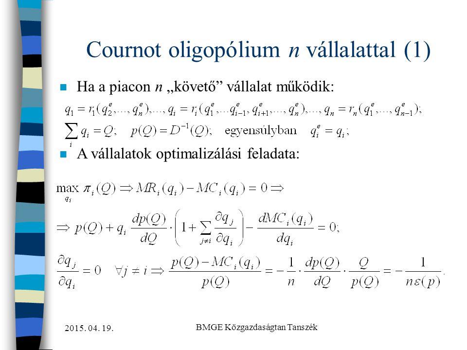 Cournot oligopólium n vállalattal (1)