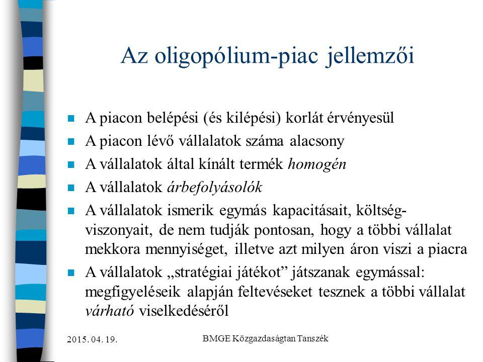 Az oligopólium-piac jellemzői