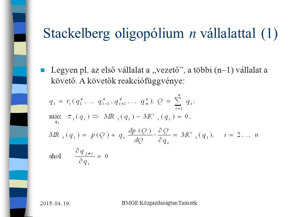 Stackelberg oligopólium n vállalattal (1)