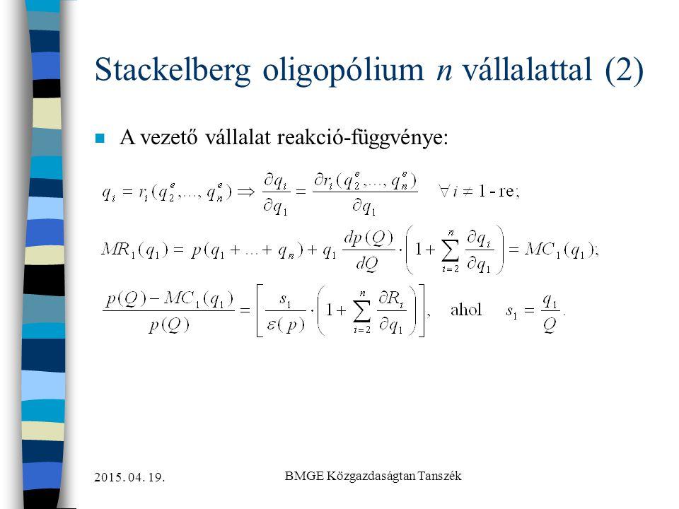 Stackelberg oligopólium n vállalattal (2)