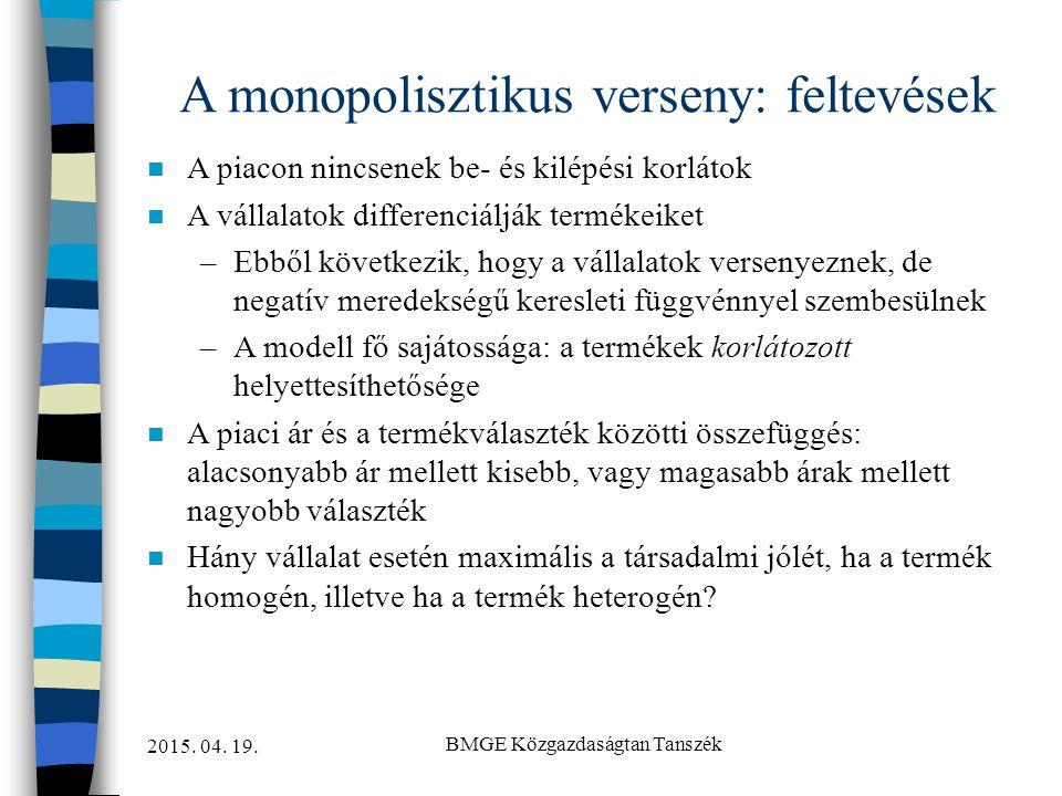A monopolisztikus verseny: feltevések