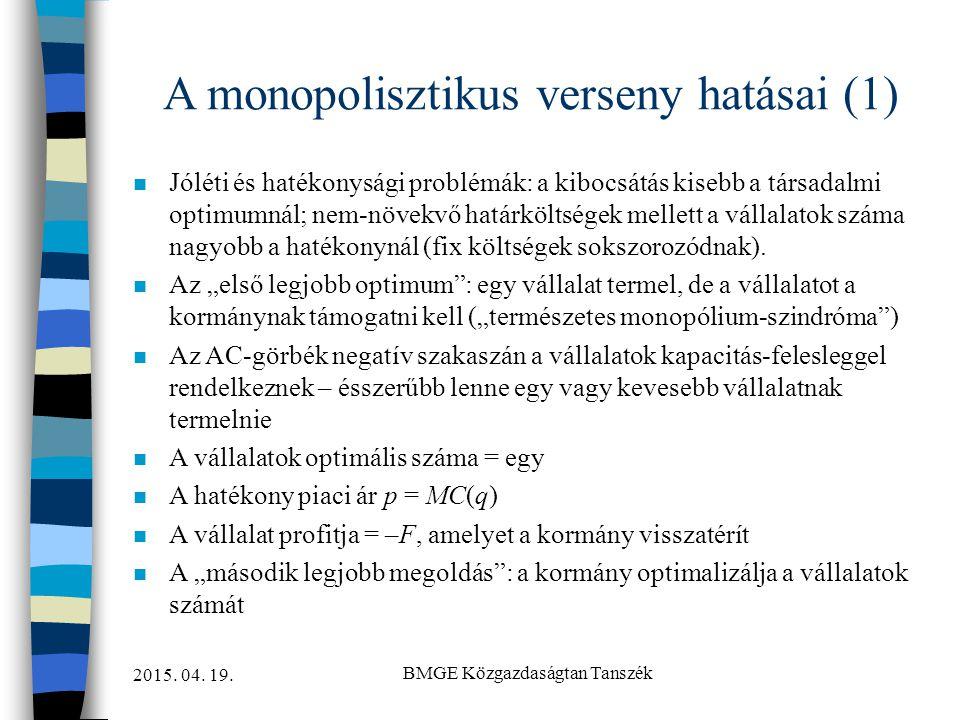 A monopolisztikus verseny hatásai (1)