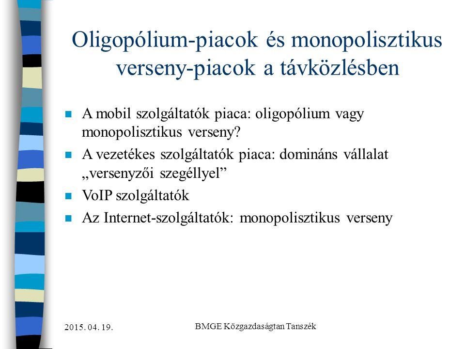 Oligopólium-piacok és monopolisztikus verseny-piacok a távközlésben
