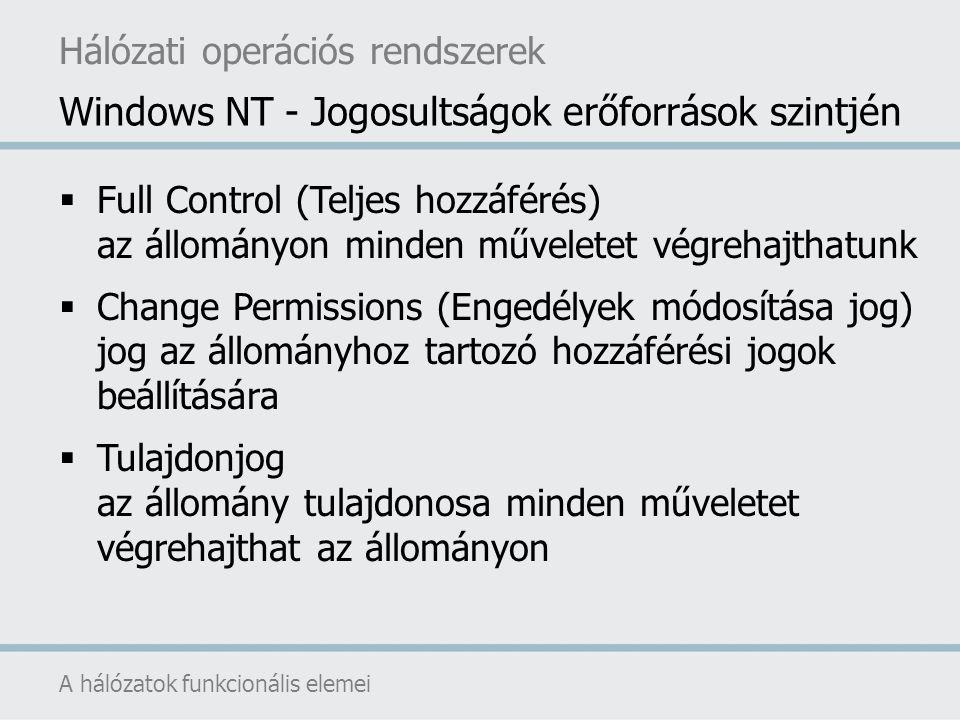 Windows NT - Jogosultságok erőforrások szintjén