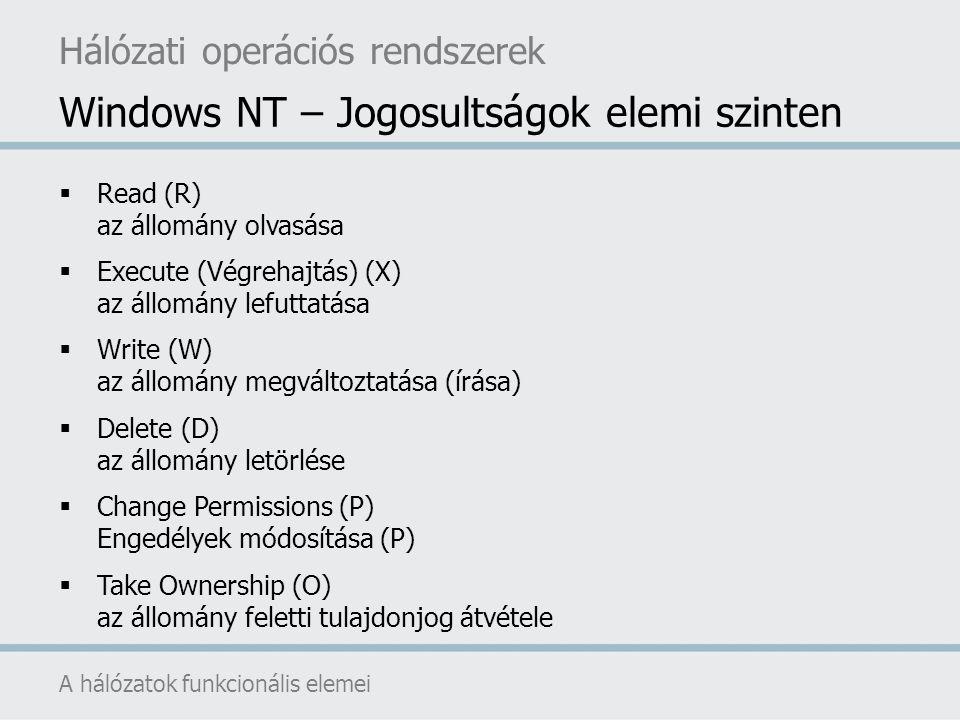 Windows NT – Jogosultságok elemi szinten