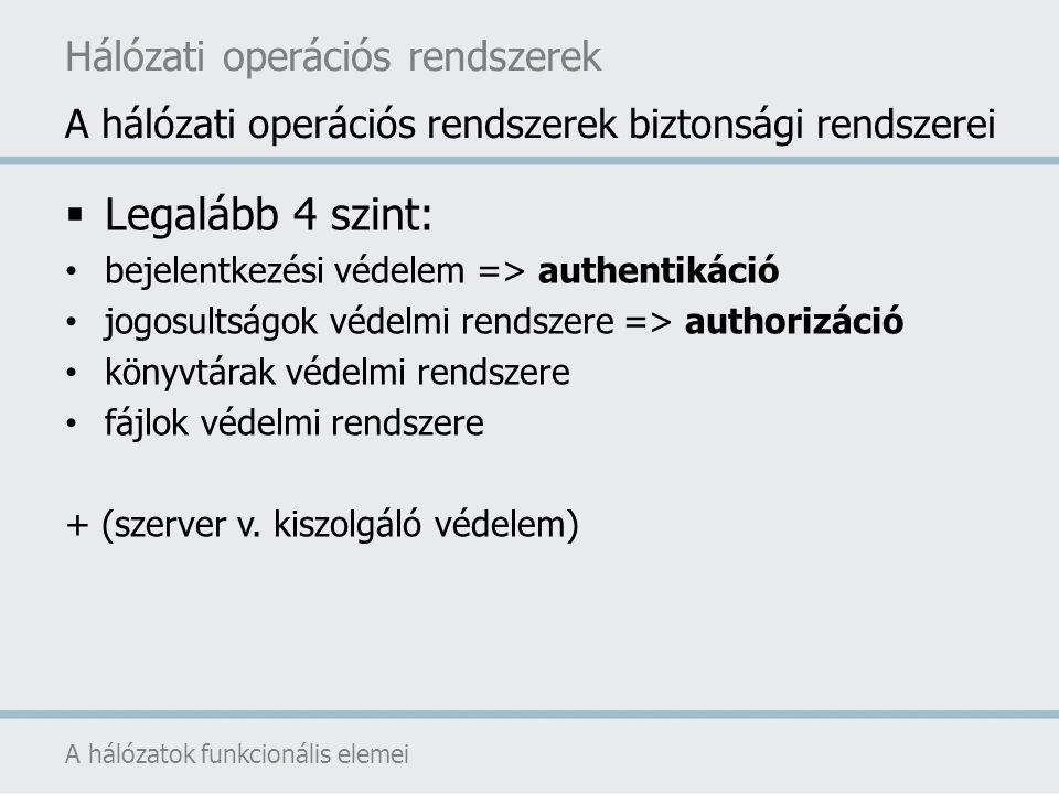Legalább 4 szint: Hálózati operációs rendszerek