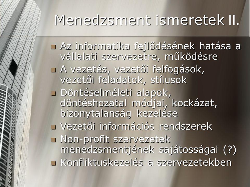 Menedzsment ismeretek II.