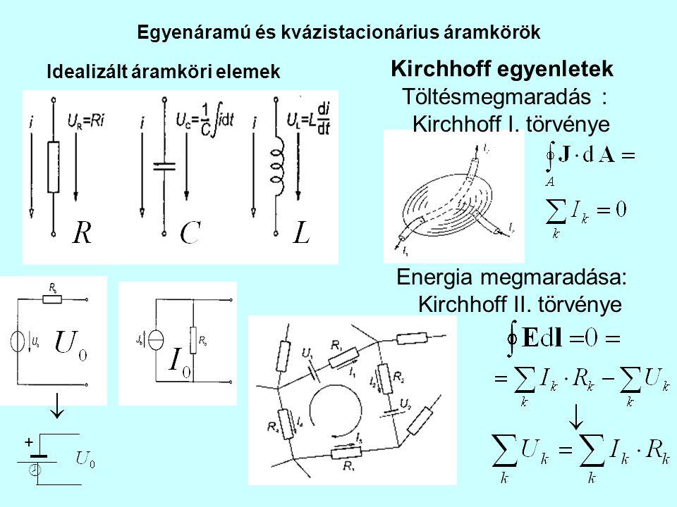 Kirchhoff egyenletek Töltésmegmaradás : Kirchhoff I. törvénye