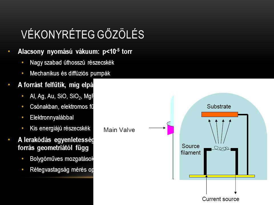 Vékonyréteg gőzölés Alacsony nyomású vákuum: p<10-5 torr