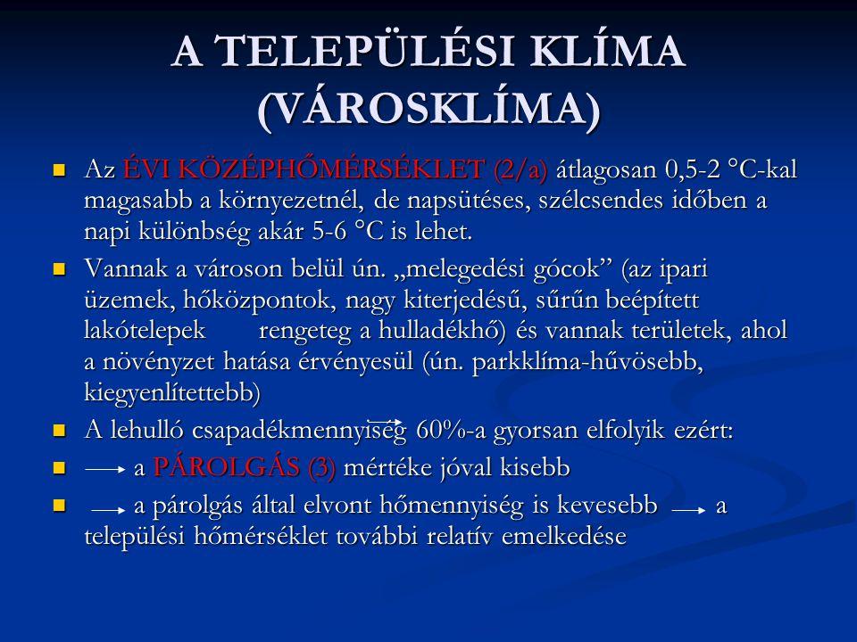 A TELEPÜLÉSI KLÍMA (VÁROSKLÍMA)