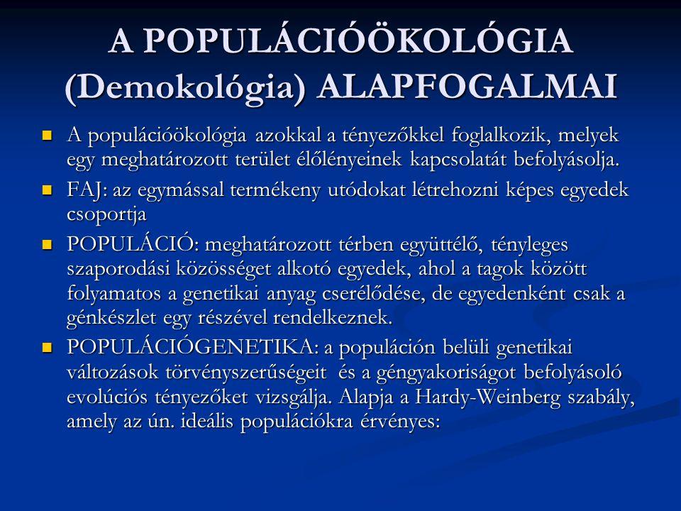 A POPULÁCIÓÖKOLÓGIA (Demokológia) ALAPFOGALMAI