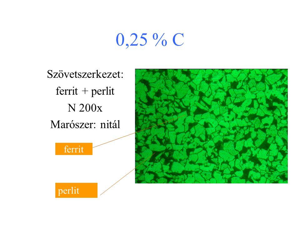 0,25 % C Szövetszerkezet: ferrit + perlit N 200x Marószer: nitál