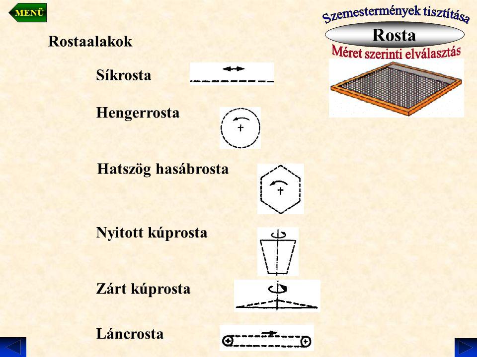 Rosta Rostaalakok Síkrosta Hengerrosta Hatszög hasábrosta