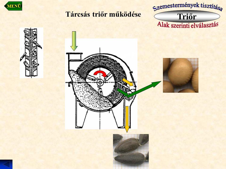 Triőr Tárcsás triőr működése Szemestermények tisztítása