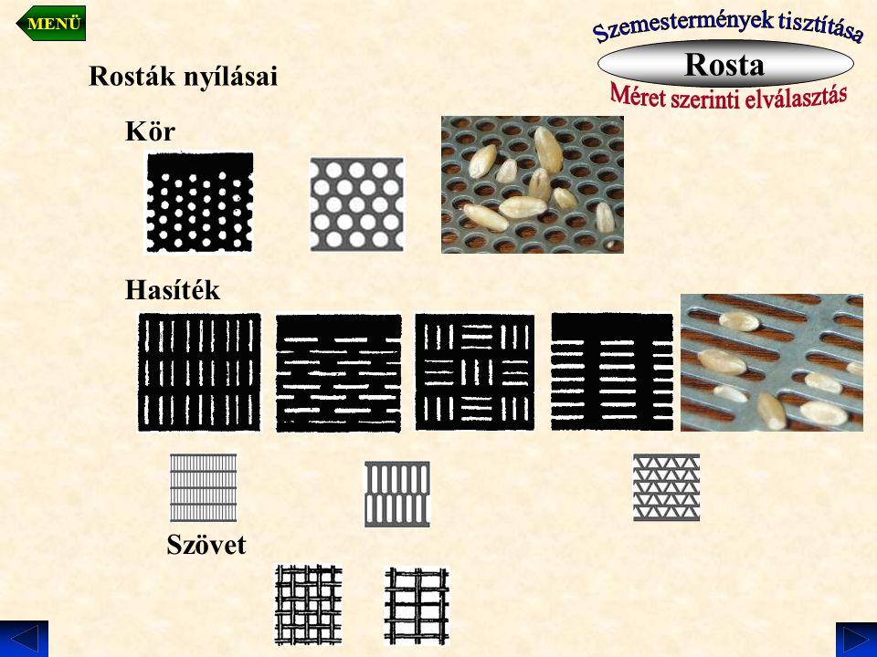 Rosta Rosták nyílásai Kör Hasíték Szövet Szemestermények tisztítása